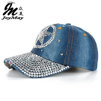 High quality JoyMay Hat Cap Fashion Leisure Star Cap Rhinestones Jean Cotton CAPS Baseball Cap B137