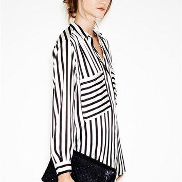 Women's Fashion Chiffon With Pocket Stripes Blouse [6048485185]