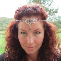 Unakite Celtic Circlet Woodland Chain Headpiece Crown Elven Circlet SOLDERED