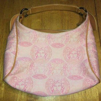 ONETOW Vintage VERSACE Medusa Hand Tote Bag Purse Pink White Beige Canvas Leather
