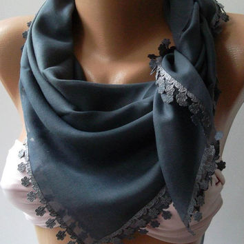 Grey - Shawl with Lace - Turkish Shawl -- Anatolians Scarf - Yemeni