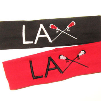 Set of 2 - Lacrosse Embroidered Headband - 21 Different Colors of Headbands to Choose From