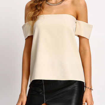 Apricot Off the Shoulder Blouse with Arm Wraps