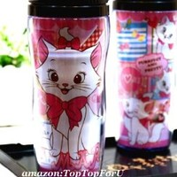 Disney Marie Cat Plastic Double Wall Thermos Travel Mug Coffee Tea Cup Lid 13-ounce