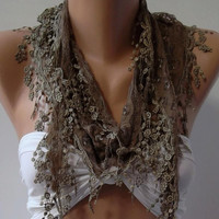 Caramel /Shawl/ Scarf  / With Lacy Edge