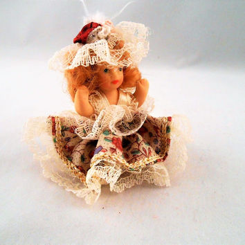 Porcelain Mini Sitting Doll Curly Blonde Hair Lace Trimmed Hat and Dress 2.5""