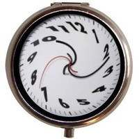 Surreal Swirly Melting Clock Pill Box Pillbox Case