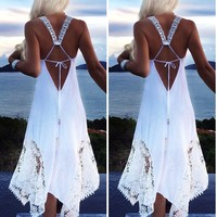 Women's Lace Irregular Dress