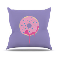 "KESS Original ""Donut You Love Me"" Purple Pink Throw Pillow"