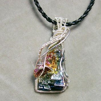 Bismuth Crystal And Silver Pendant Jewelry by Heather Jordan - Bismuth Crystal And Silver Pendant Fine Art Prints and Posters for Sale