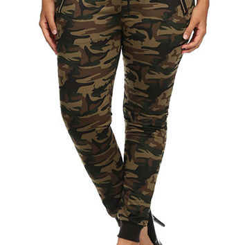 Plus Size Drawstring Jogger Pants With Band Cuffs