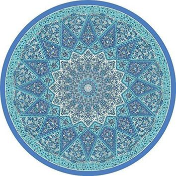 Blue Green Brazilian Mandala Yoga Round Tapestry Towel