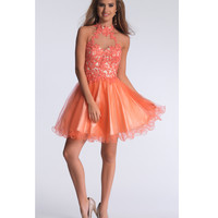 Dave & Johnny 1003 Orange Short Halter Embroidered Dress 2015 Prom Dresses