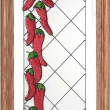 Chili Peppers Vertical Stained Art Glass Panel