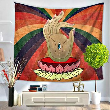 Hamsa Hand All Knowing Eye Boho Tapestry