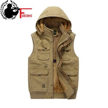 Fur Hood Sleeveless Vest Men Fleece Warm Jacket Waistcoat Travel Multi Pocket Quality Tactical Military Style Casual Thick Male