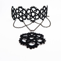 Black lace collar necklace  Gothic choker