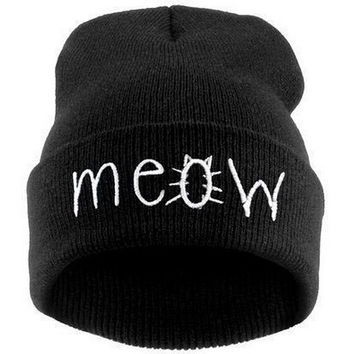 New Winter Beanies MEOW Beanies Black Red Blue Winter Hiphop Hats(one size) = 1930051012
