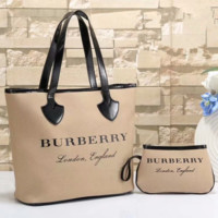 shosouvenir Burberry Women Fashion Leather Handbag Bag Cosmetic Bag Two Piece Set