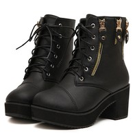 Moto Lace-up Ankle Boots