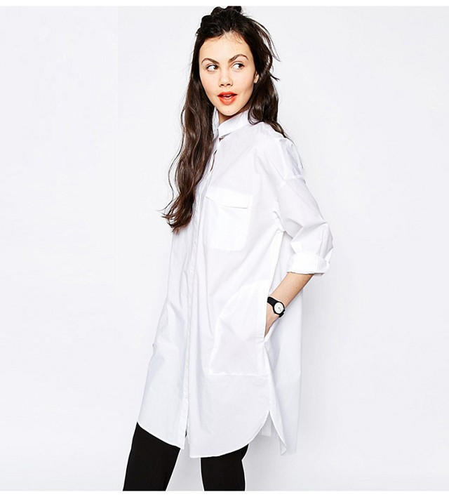White Long Sleeve Button Turn-Down Collar from IDEOLOGY | Stuff