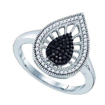 10K White-gold 0.25CTW BLACK DIAMOND MICRO PAVE RING