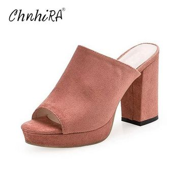 CHNHIRA Faux Suede Mules Summer Sexy High Heels Platform Shoes Woman Slippers Slip On