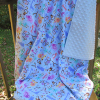 Jungle Safari Flannel and Blue Minky Extra Large Reversible Receiving or Swaddling Blanket, Double Layer