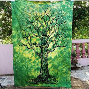 Tree Bohemian Tapestry Colored Printed Decorative Mandala Tapestry Indian 130cmx150cm 153cmx203cm Boho Wall Carpet