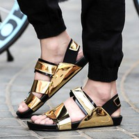 New arrival 2017 summer male sandals men gold leather shoes open toe sandals slippers