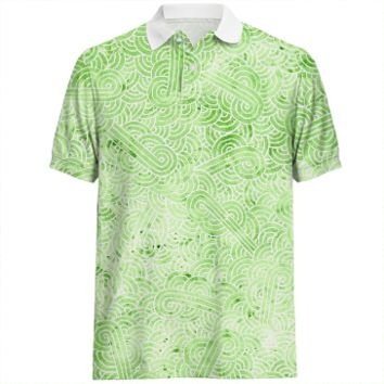 Greenery and white swirls doodles Polo Shirt