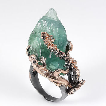 Unique handmade natural fluorite 925 sterling silver ring (US size 6)
