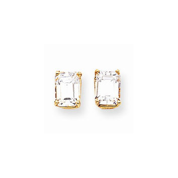 14k Yellow Gold Emerald Cut Cubic Zirconia Earring