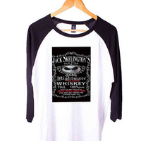 Halloween Parody Nightmare Blood jack skellington Whiskey Short Sleeve Raglan - White Red - White Blue - White Black XS, S, M, L, XL, AND 2XL*AD*