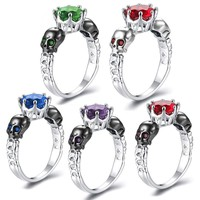 Punk Silver Color Gothic Skull Ring Zircon Jewelry