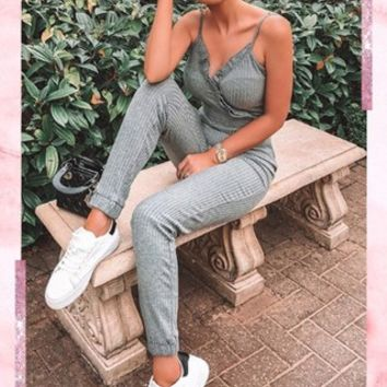 aaliyah grey ribbed wrap front jumpsuit