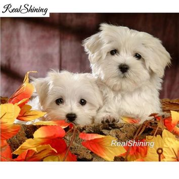 5D Diamond Painting Two Maltese Puppies in the Leaves Kit