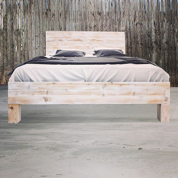 Rustic Beach Wood / Whitewashed Barn Wood Style Headboard - Handmade In Chicago.