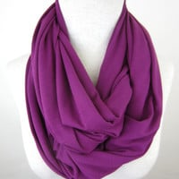 Large Fuchsia Infinity Scarf - Magenta Jersey Scarf - Pink Purple Circle Scarf