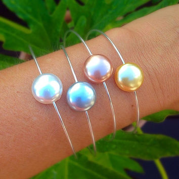 Swarovski pearl bangle, Stacking bangle, bridesmaids bracelets,  beadwork, coin stone