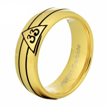 33rd Degree Gold Rounded Masonic Ring