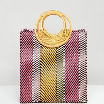 ASOS DESIGN Stripe Straw Mini Shopper Bag With Bamboo Handle at asos.com
