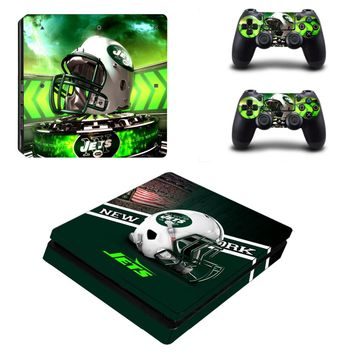 New York Jets PS4 Slim Skin Sticker Decal for Sony PlayStation 4 Console and 2 Controller PS4 Slim Skins Sticker Vinyl