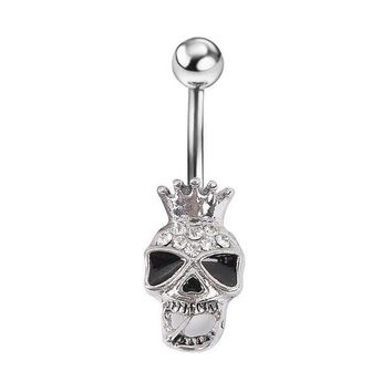 ac DCCKO2Q New Piercing Skull Skeleton Body Jewelry Piercings Navel Belly Button Accessories Men Jewelry
