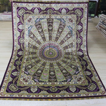 Speical 5'x7' Hand Knotted Pure Silk Rug Classic Persian Style with Peacock Feather Design (MYX-5708, Purple & Green)