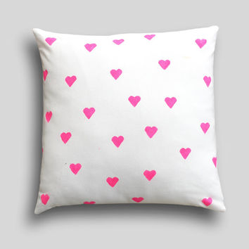 NEON Mini Heart Cushion Cover, Colour Choice, Pillow. Girls Bright Pink Pillow Gold Bedroom Decor, Neon Cushion, Neon Pillow, Pink Cushion