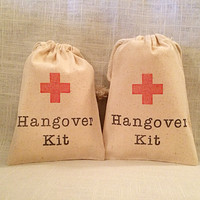 5 Hangover Kit / Red Cross - Organic Cotton Drawstring Bags - Great for Bachelorette or Bachelor Parties 4x6