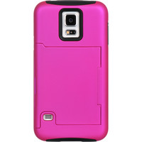 DW Hybrid Credit Card Stand Case for Samsung Galaxy S5 - Hot Pink