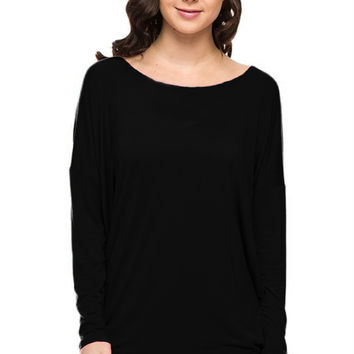 Long Dolman Sleeve Scoop Neck Tunic Top