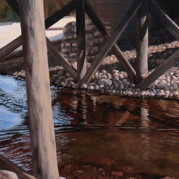Under the Bridge, Original Oil Painting, Wall Decor 8.5x10